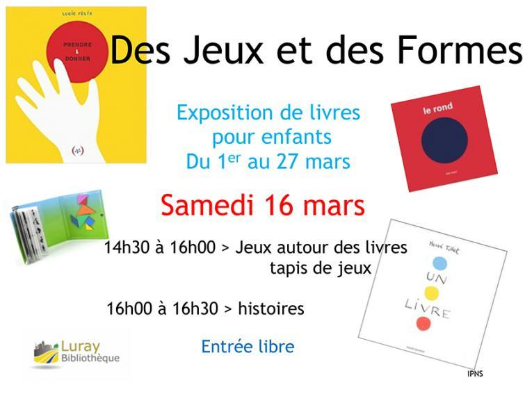 """Bibliothèque Luray - Atelier """"Des jeux et des formes"""" - Samedi 16 mars 2019"""
