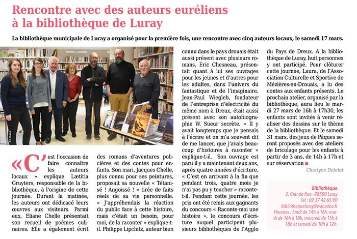 Bibliothèque rencontres-dédicaces - 17 mars 2018