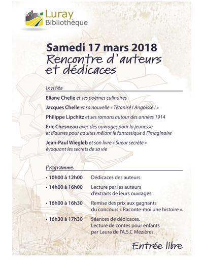 Luray Bibliothèque - Rencontres-dédicaces - Samedi 17 mars 2018
