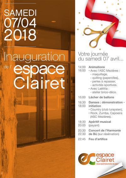 Luray - Affiche de l'inauguration de l'Espace Clairet - 07 avril 2018