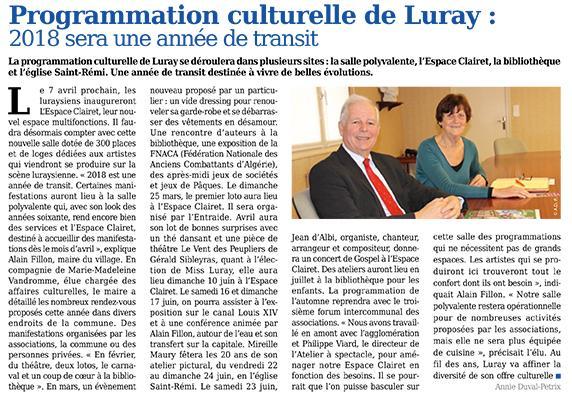 Luray - Programmation culturelle 2018 - Mtaville - 08 février 2018