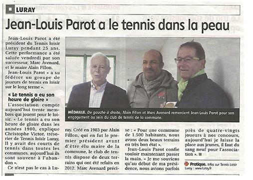 Tennis Loisir Luray - Echo Républicain - 27 novembre 2017